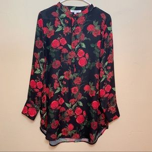 💙ROSE+OLIVE BLACK ROSES BLOUSE NWT SZ M